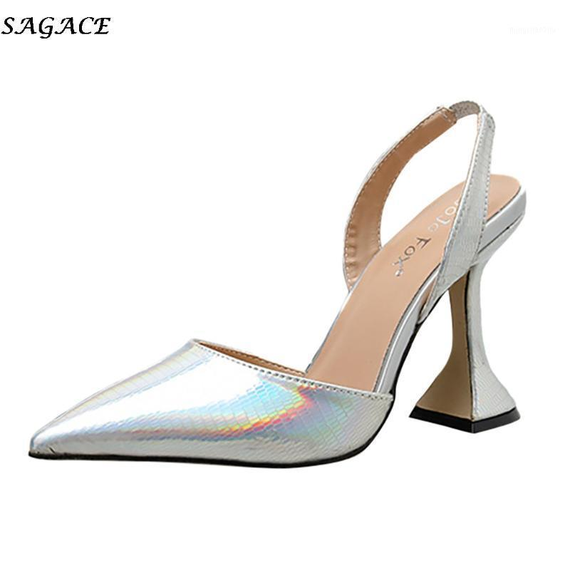 Zapatos de vestir Sagace Estilo Europeo Moda Color Puro Purador Toe Sandalias Puntas de punta Luz Sandalias Medias Sandalias Casuales1