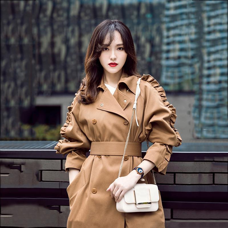 Kaki Trench Coat à double boutonnage Femmes Automne Vapel Longue Vêtements Vêtements Femme Manteau Spring Outwear 201016