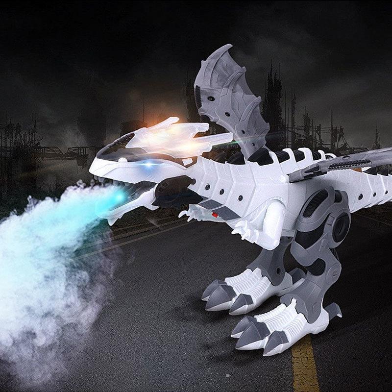 Animal Modèle Dinosaure Blanc Spray pulvérisation électrique Dinosaure mécanique Pterosaurs Dinosaure avec Wing Noël Cadeau 201125