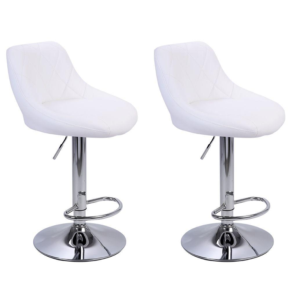 WACO Современные барные стулья высокий тип инструмента, 2 шт. Регулируемый стул дисковый ромб спинка дизайн ресторана столовая столовая стулья белый