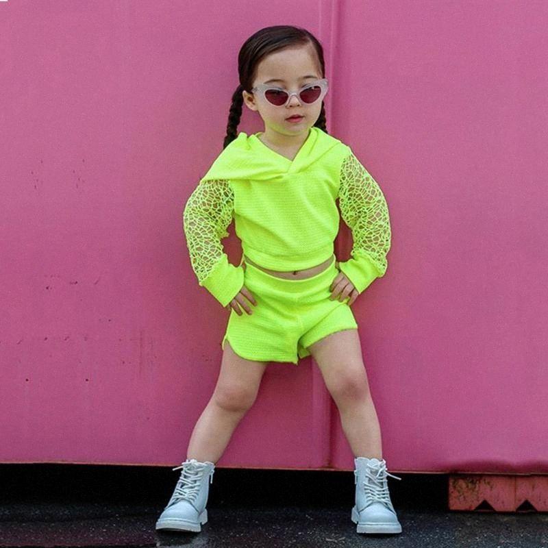 Летние малышей Детские Девочки Одежда выдалбливают Твердые с длинным рукавом с капюшоном Дизайн Пальто Топы Шорты Брюки 2Pcs Эпикировка Спорт Кло zTrh #