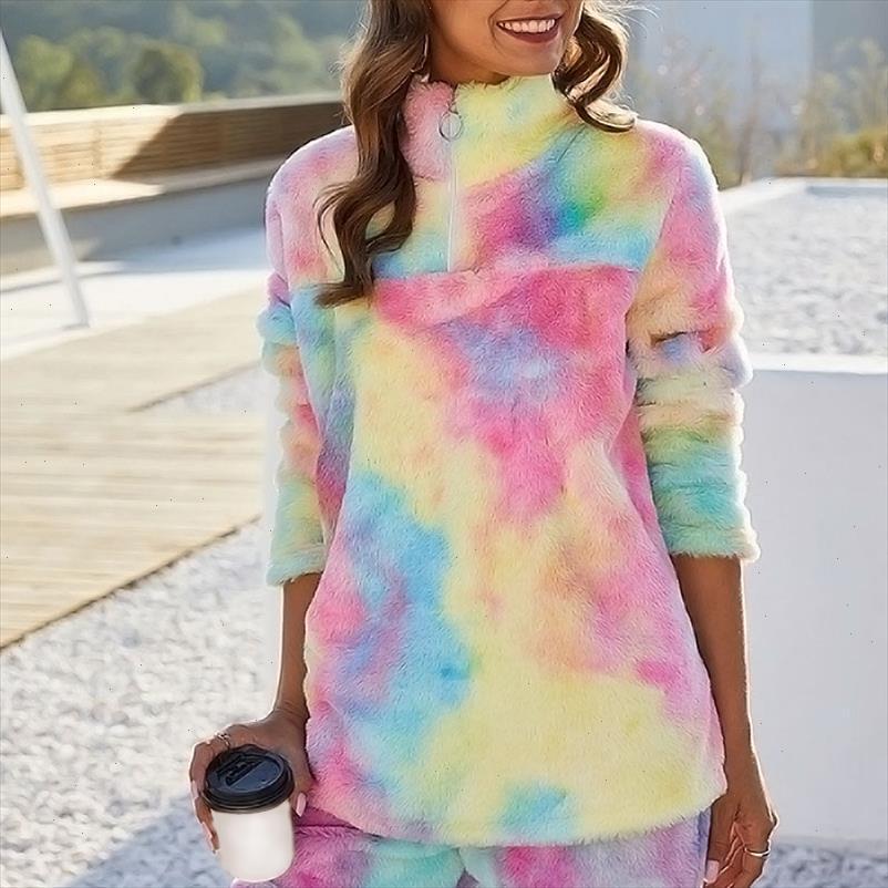 Rainbow Tie Dye Hoodies Sweatshirts Frauen Herbst Winter Plüsch Teddy Fleece Mäntel und Jacken Weibliche Faux Fell Übergroße Pullover