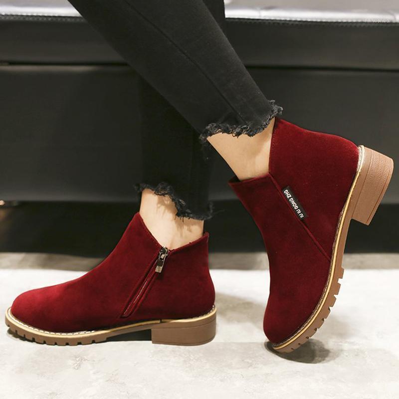 2020 Yeni Kadın Çizmeler Sonbahar Kış Çizmeler Klasik Fermuar Kar Ayak Bileği Kış Süet Sıcak Kürk Peluş Kadın Ayakkabı 35-401