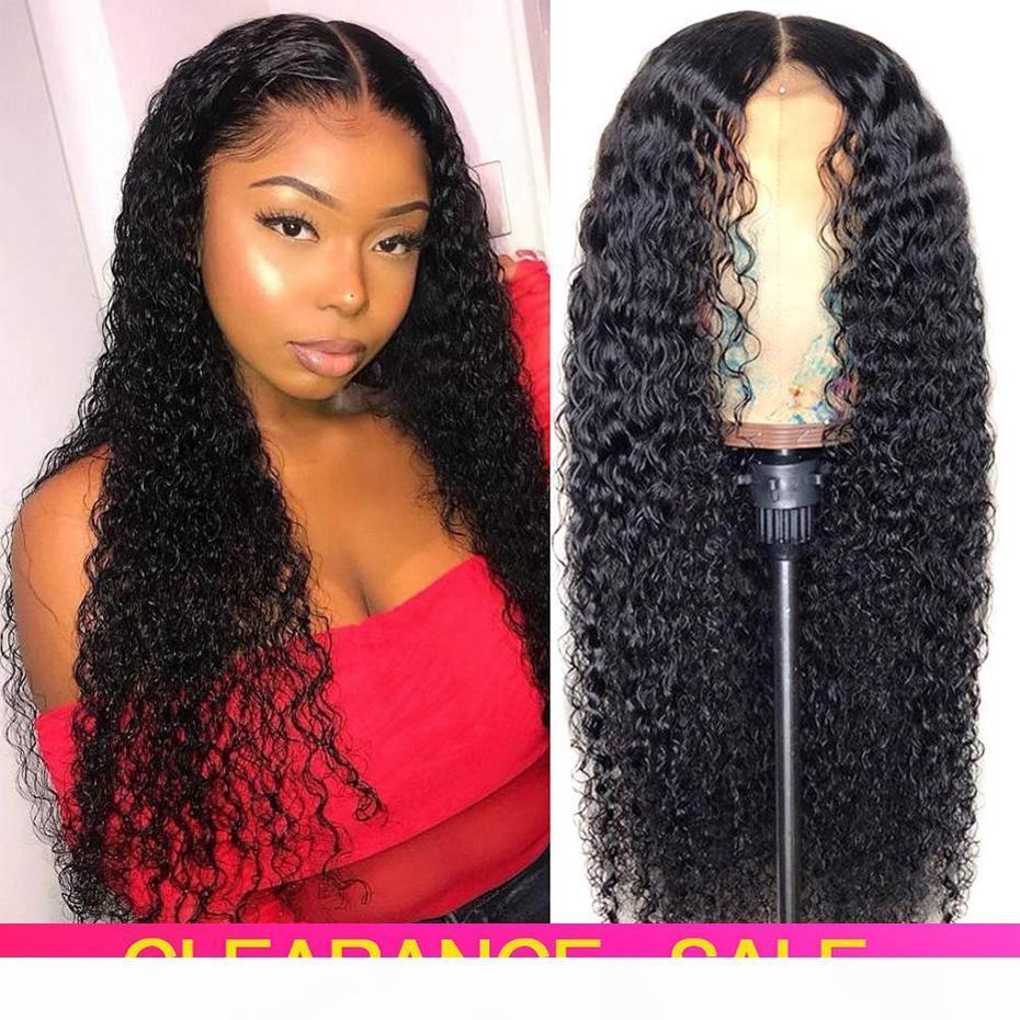 Pelucas del cabello humano del frente del encaje rizado para las mujeres negras Peluca de pelo humano rizado brasileño brasileño 150% Remy 4x4 encaje rizado