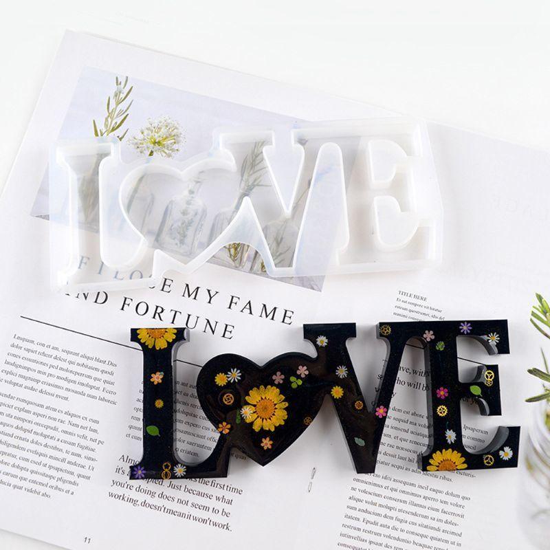 Accueil Famille Silicone Moule Love Love Résine Moule Love Signer Word Moule Epoxy Résine Moules pour DIY Table Décoration Art Artisanat OWE3492 269E