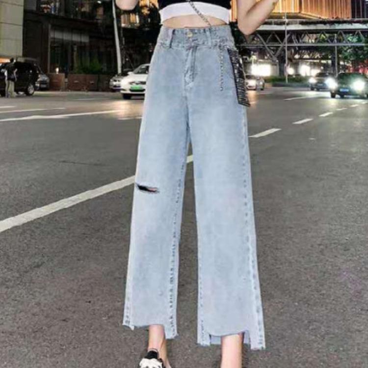 2021 Jeans de pierna ancha del agujero de la moda para las mujeres