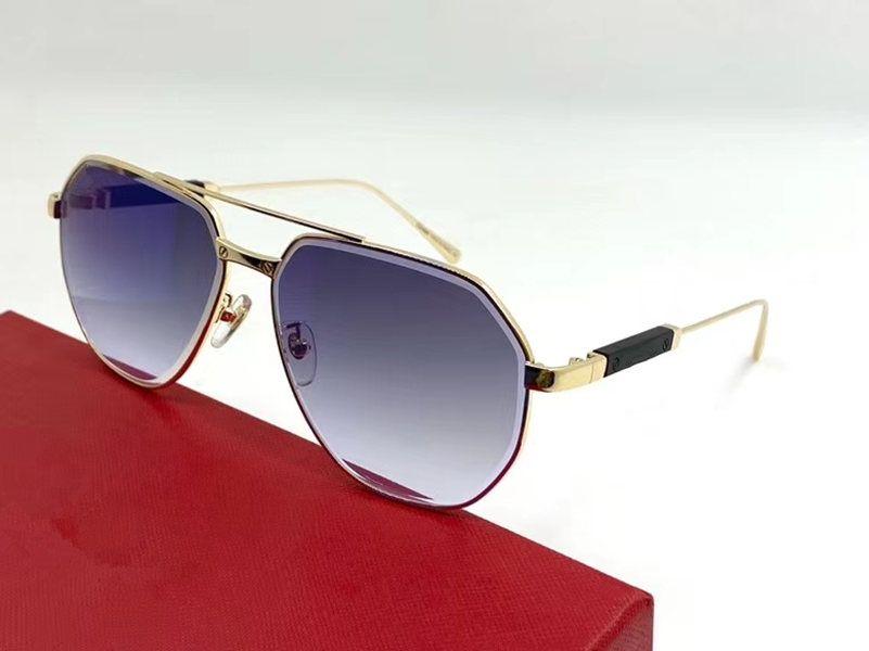 Nuevo lujo diseñado degradado piloto gafas de sol UV400 hombres mujeres gafas grandes occhiali da sole metal fullrim 61-14-145 Full Funda
