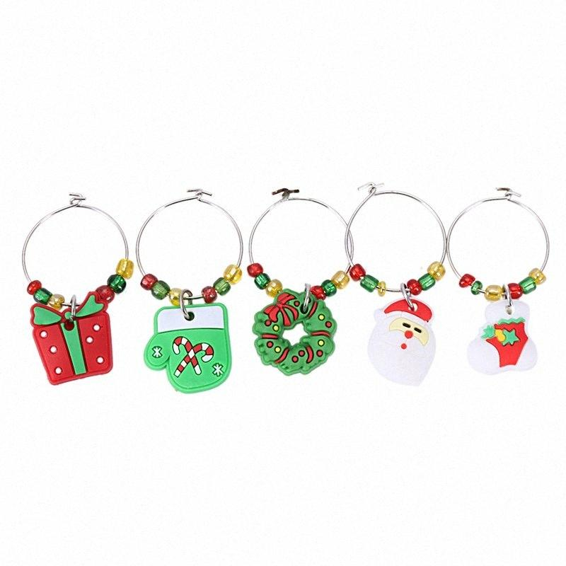 6PCS PVC Merry Christmas Wine Glass Charms Rings Marker Christmas Party Bar Table Decorations nkpb#