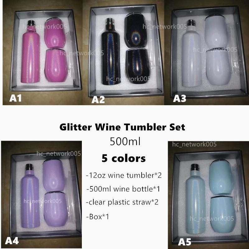 تسامي بريق النبيذ بهلوان النبيذ مجموعة 500 ملليلتر الفولاذ المقاوم للصدأ 17 أوقية زجاجات النبيذ مع اثنين 12 أوقية النبيذ البهلوانات أفضل هدية مجموعة البحر الشحن