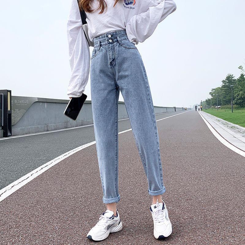Vita alta Jeans Autunno / Inverno delle donne Moda Slim pantaloni diritti Retro Jeans Loose Women coreano casuale studenti Harlan papà