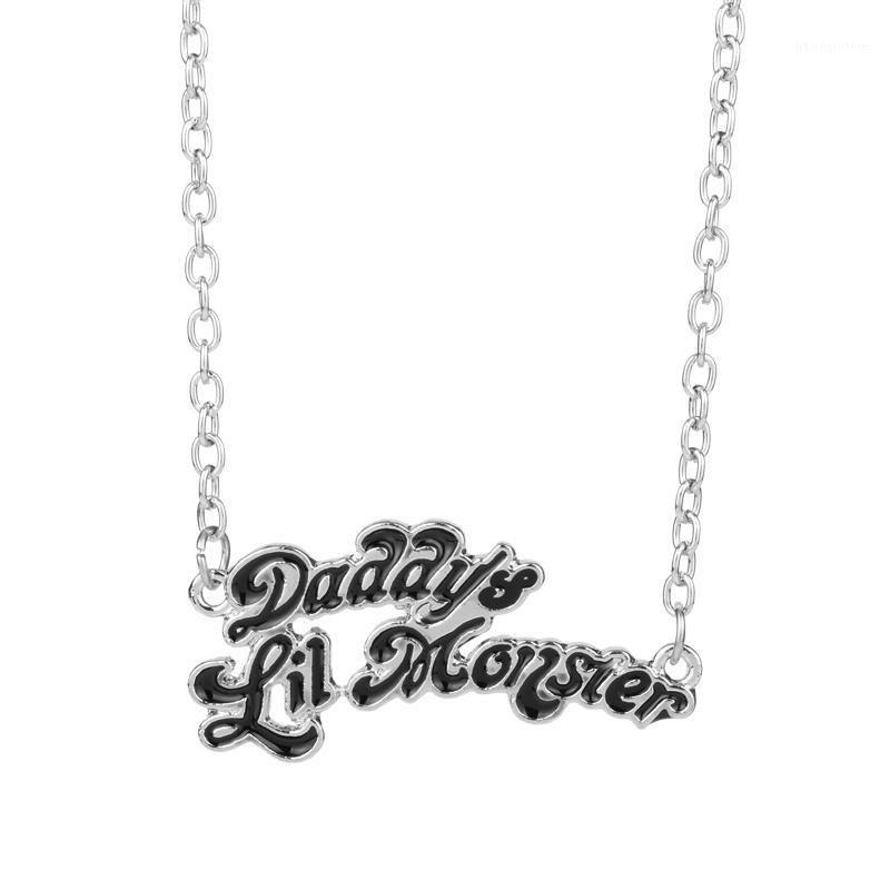 Colares de pingente suicida esquadrões jóias quinn papai's lil monstro colar cosplay presente de aniversário para papai1