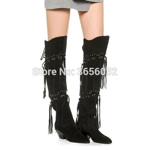 Botas Mujer 2020 Autumn Tassel Sapatos mulher apontou Toe Mid Bloco Heel botas de montaria Mulheres Voltar Lace-up Suede Preto Fringe Botas