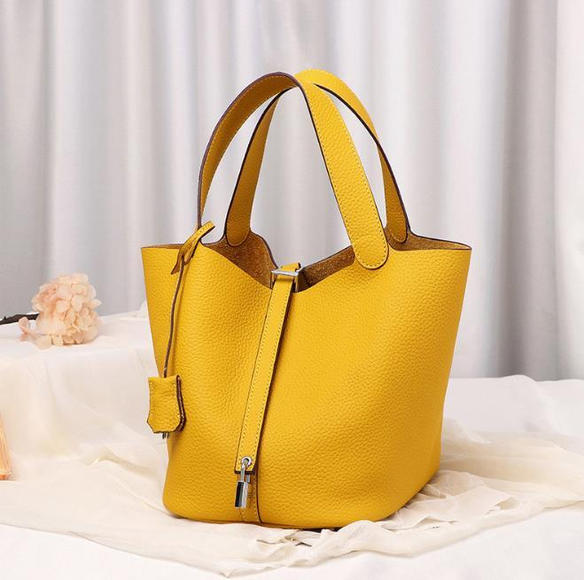Borsa da donna in vera pelle borse in vera pelle da donna cestino borse serratura picotin layer layer wayschide secchio pacchetto trasportare la mano della borsetta