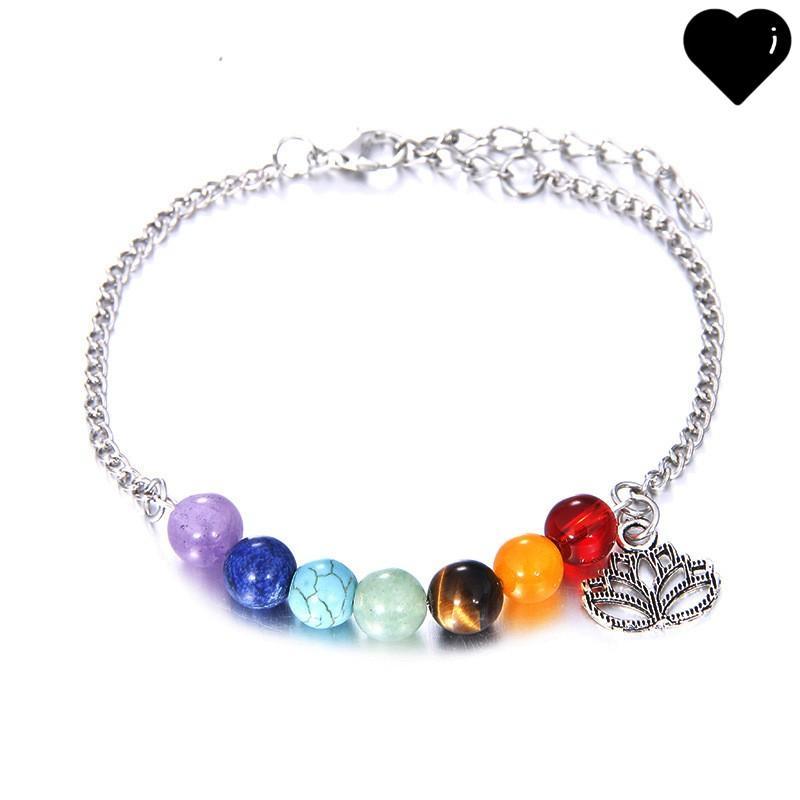 7 Chakren Armbänder für Frauen Kristall Heilung Balance Perlen Natur Stein Armbänder Lotus Charms Yoga Großhandel Schmuck 121 G2