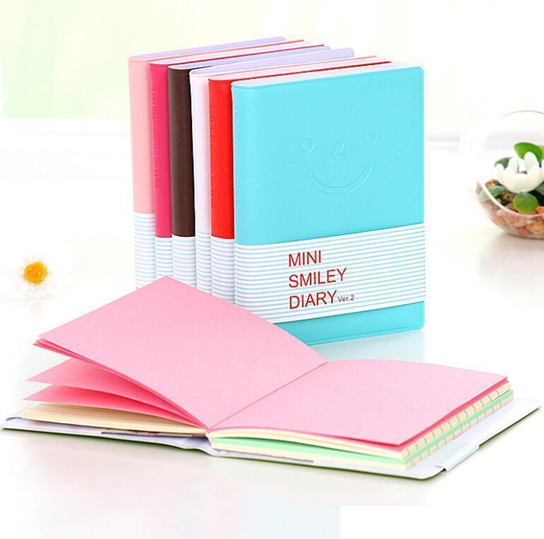 Papel de couro bloco de nites doces cores escrevendo notebook sorrindo rosto expressão notebooks mini viajar diário diário estudantes presente