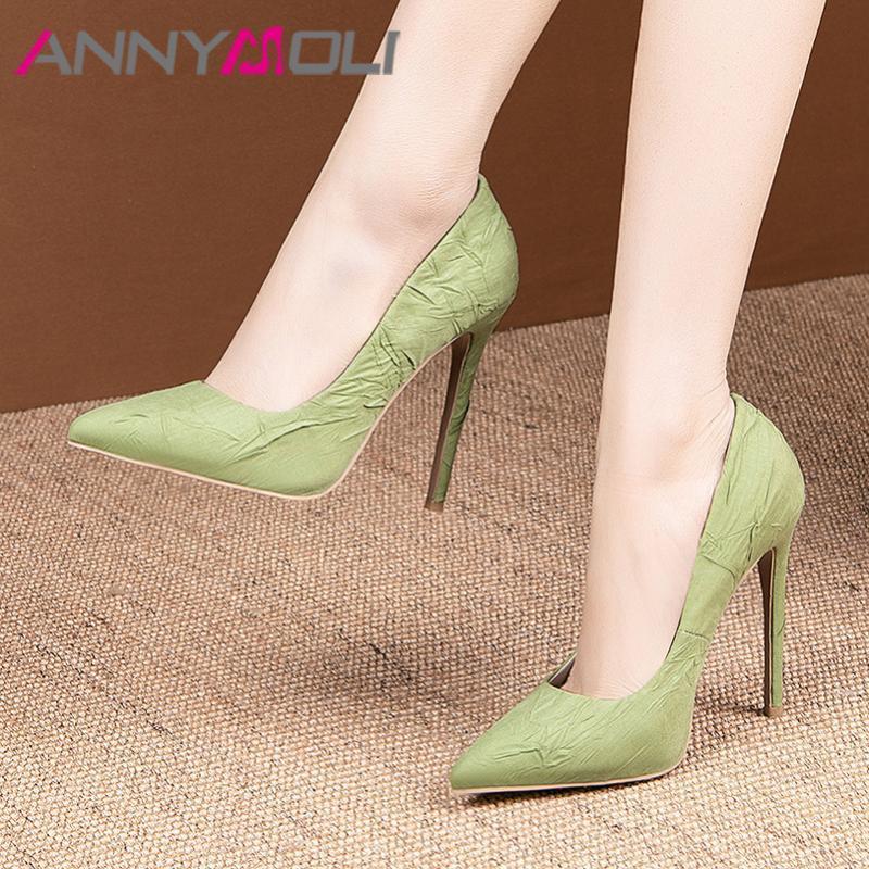 Animoli tacones altos mujeres bombas hebilla delgada tacones altos zapatos de fiesta sexy zapatos de punta puntiaguda poco marítima hembra verde más tamaño 33-46