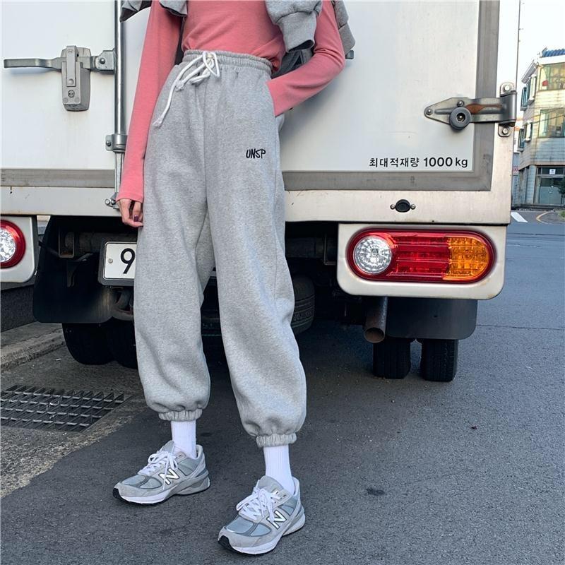 Éachin Femmes Sport Drawstring pantalons de jogging d'hiver chaud en vrac Sportwear Pantalon Femme 2020 Mode Casual Streetwear Pantalon C1111