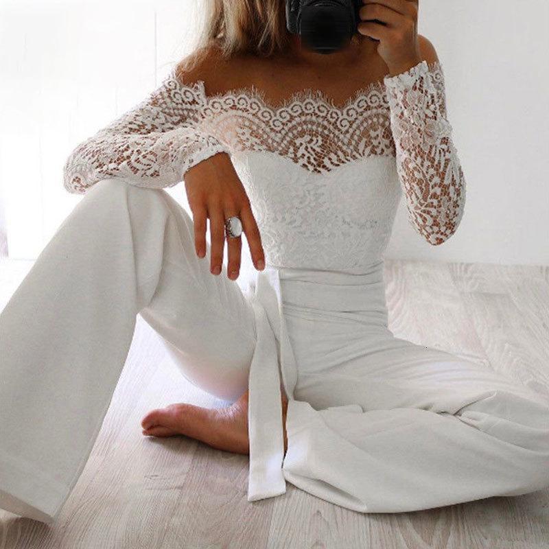 Neueste frauen spitze floral weiße farbe langarm opperuit romper clubwear spielsuit bodycon party hosen weiblich