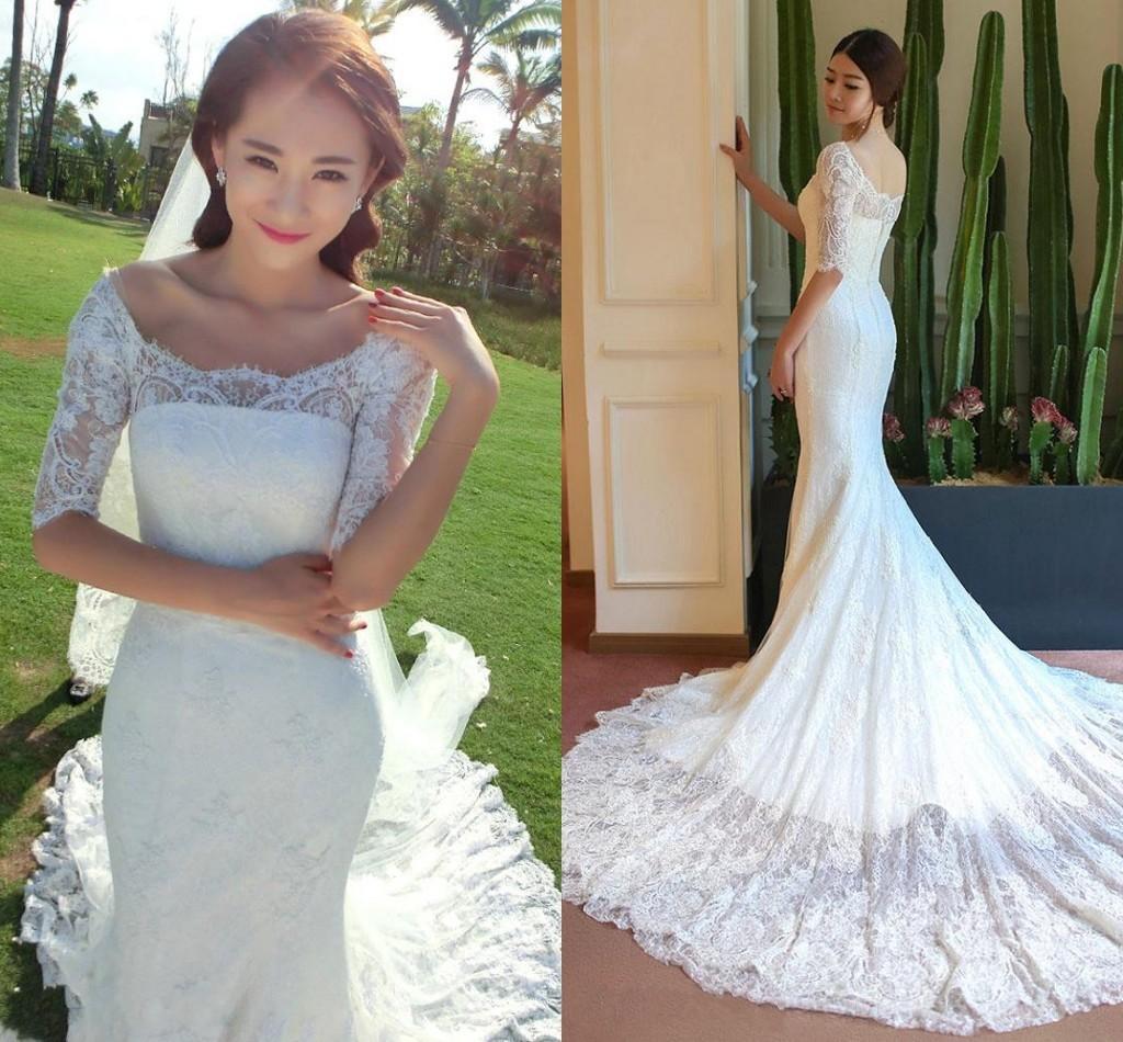 Boda del cordón de la sirena vestidos magníficos medias mangas vestidos de novia cuello barco retro lleno de tren capilla de encaje vestido de novia Vestidos de novia