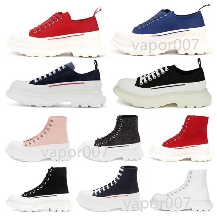 2021 Pisada de moda Slick Lace Up Lienzo Sneaker Mujer High Sole Black Royal Platform Pink White White Zapatos de sobredimensionados 35-40