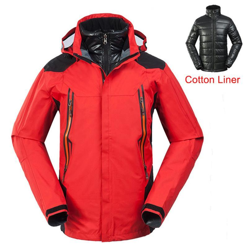 Men Jackets Autumn And Winter Outdoor Thick Waterproof Skiing Hiking Two-Piece Warm Liner Sportswear Cold-resistant Windbreaker
