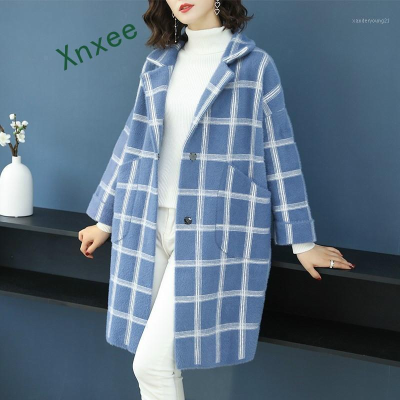 Neue Mantel Frauen Plaid Ableger Lose Langarm Strickjacke Single Breasted Casual Herbst Winter Mantel1