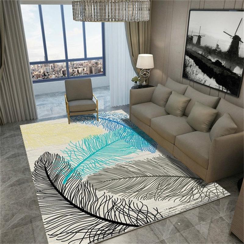 Simple Style Patrón de plumas Pasillo Pasillo Pasillo Antideslizante Sala de estar Alfombra 60 * 90 cm Alfombra personalizable # 3