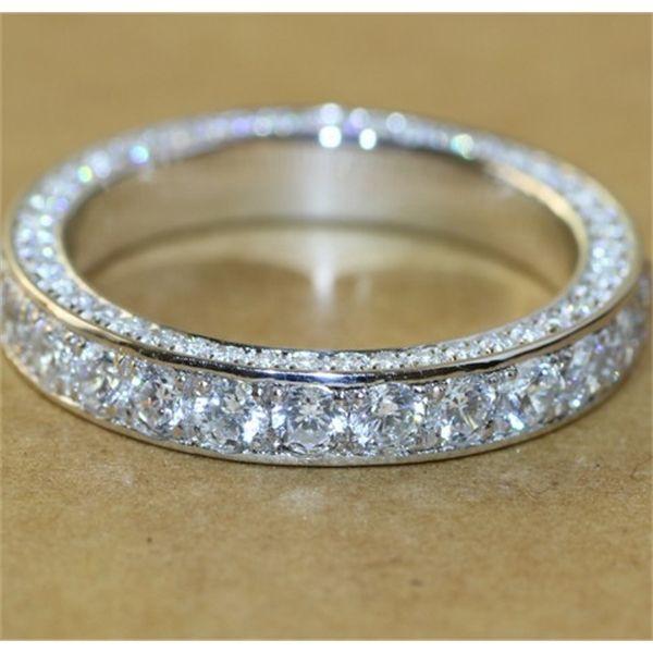 Anillo de diamante de promesa hecha a mano 100% real S925 STRYLING STRINLING COMPROMOTE FORMA DE LA BANDA DE LA BODA PARA LAS MUJERES JOYERÍA DE DEDO DE DADE Y1119