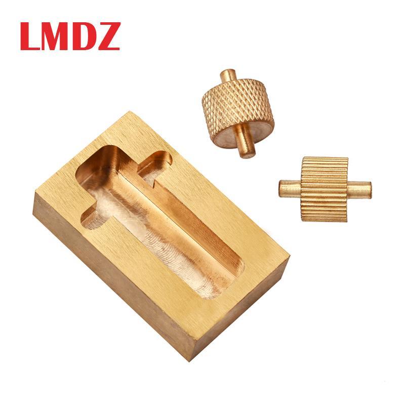 LMDZ Messing Rand mit zwei Rollen Mini Side Oil Hopper Dye Box Bucket DIY-Leder-Fertigkeit-Werkzeug Mini-Leder-Prozessor Q1106
