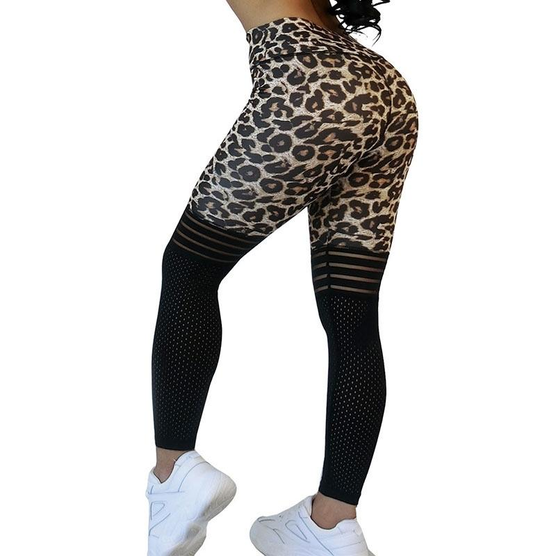 2020 sexy leopardo para magro cintura alta malha patchwork calça empurrar treino esportes mulheres leggings y200904
