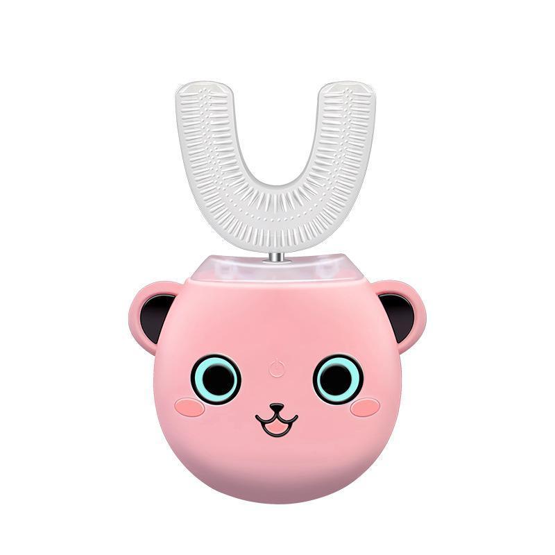 Spazzolino elettrico del capretto, fumetto del silicone a forma di U Bambini Electric Power ultrasuoni Spazzolino da denti, adatto a 2-6 anni