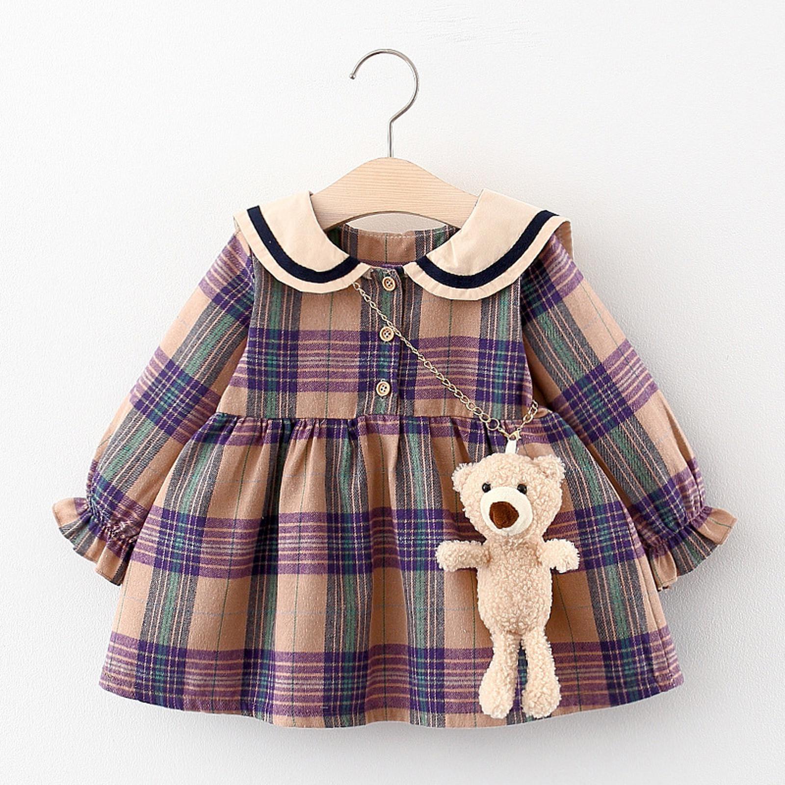 Niño recién nacido de los bebés para niños de la llamarada de la manga Rejillas Imprimir vestido de la princesa del vestido + de los sistemas del bolso del bebé del otoño ropa de las muchachas muchachas del vestido de conjuntos 1023