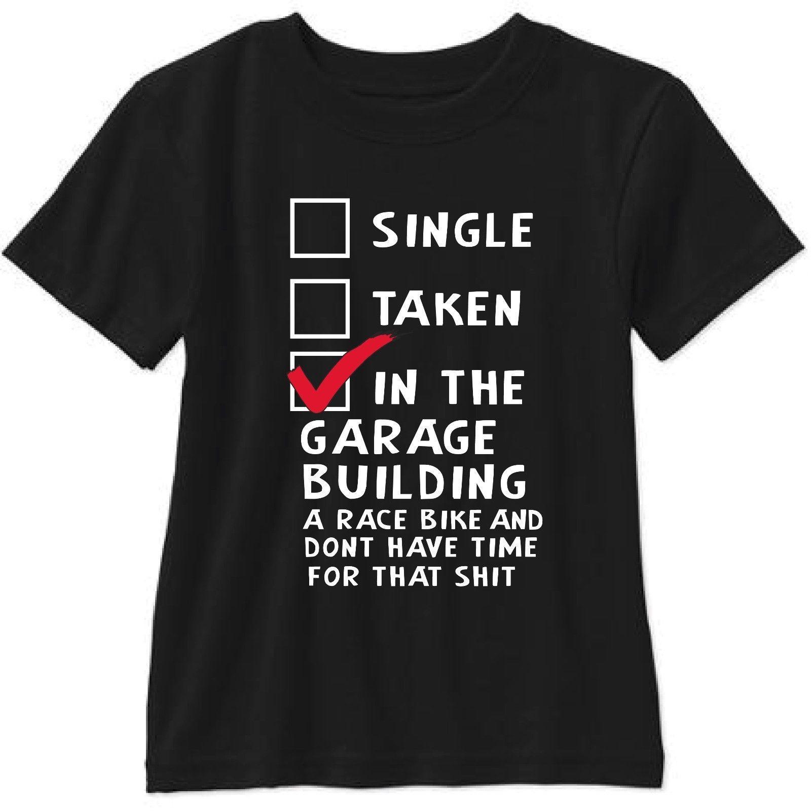 el deporte de manga corta para hombres ropa de verano single extraído en el garaje del edificio Una carrera del motorista Camiseta de manga corta T-shirt