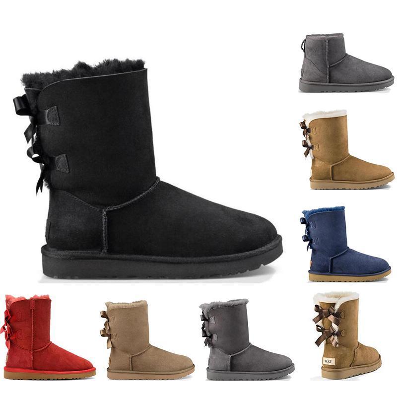2020 mujeres de la nieve botas de moda Australia invierno clásico de la bota del tobillo Mini Short muchachas de las señoras para mujer botines Triple Negro Castaño Azul marino