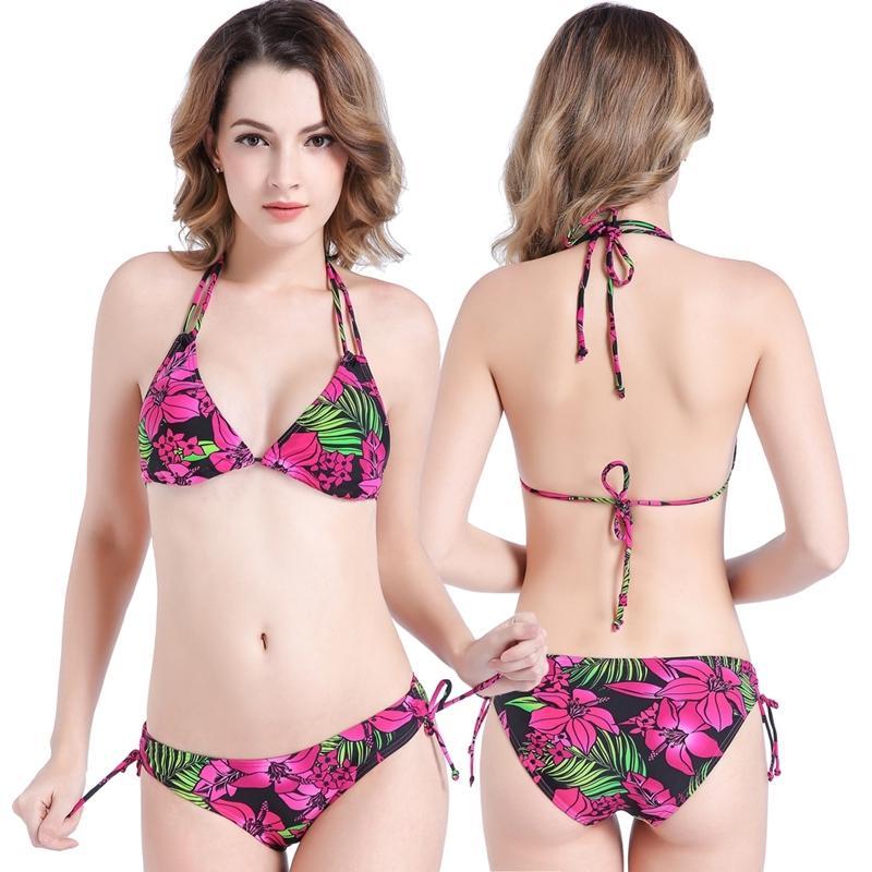 Nylon Lycra Tissu Plus Taille Set Taille entièrement doublée Bikini Floral Bikini Femmes Maillots de bain Réglable - Maillot de bain