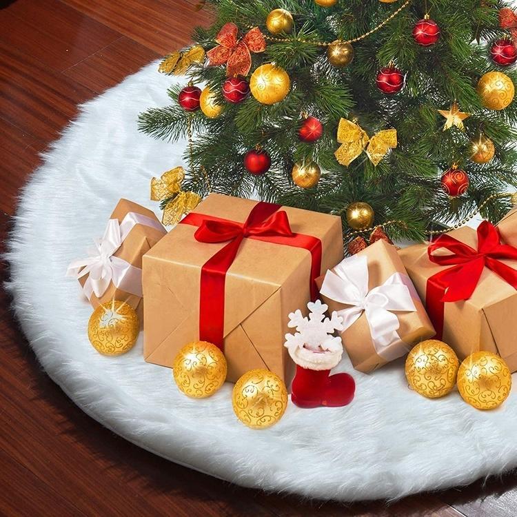 New 2021 Ankunft Snowy White 48 Zoll dick Kunstpelz Stoff Weihnachtsbaum Rock Weihnachtsdekoration K8IU