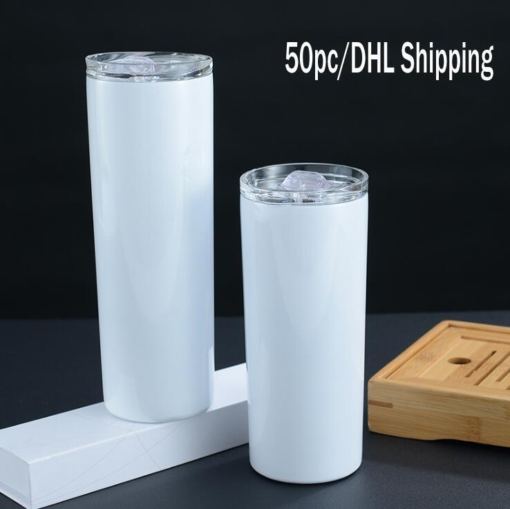 DHL Ship 20oz Skinny Tumblers Sublimación en blanco Taza delgada Copa recta Taza de café con tapa y cerveza de paja de plástico Tazas FY4275