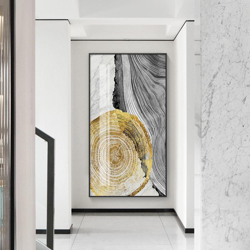 Toile abstraite d'or lumière peinture affiches en noir et blanc et imprimer des images modernes de l'art mural de décoration pour le salon Aisle