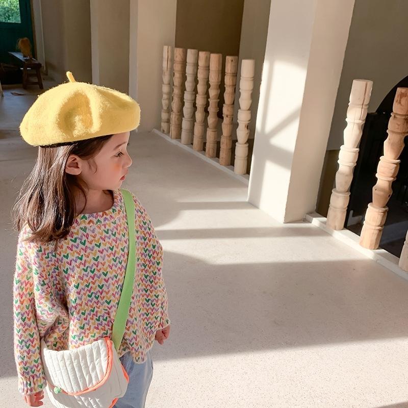 Осень зима мода девушки сердца с длинным рукавом свитера вязаный повседневный свободный теплый свитер 201104