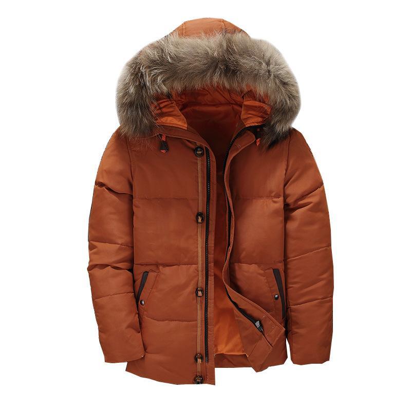 Veste d'hiver Vestes d'homme Homme Manteaux à capuchon de fourrure Collar Épaississement Parkas Canard Manteaux Bas Plus Size 3XL