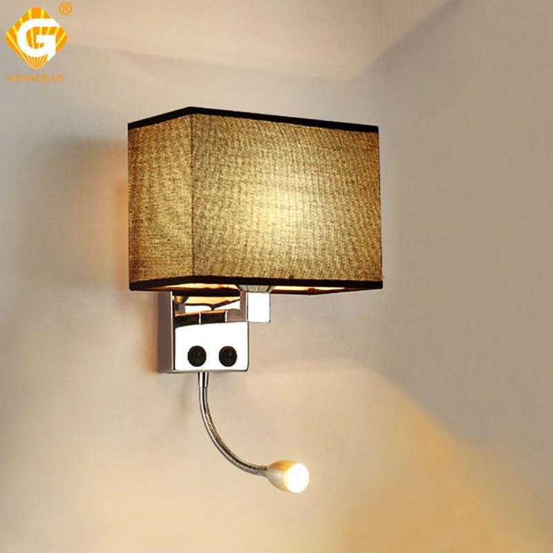 Настенный светильник светодиодный E27 лампочка света Современная спальня кроватью кроватью гостиной Sconce освещение 7W 85-265V в помещении ночной приспособление