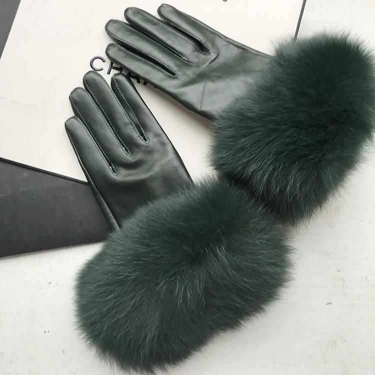 Maylofuer Koyu yeşil hakiki koyun derisi eldiven zarif eli yumuşak deri bayanlar yüksek dereceli deri eldiven