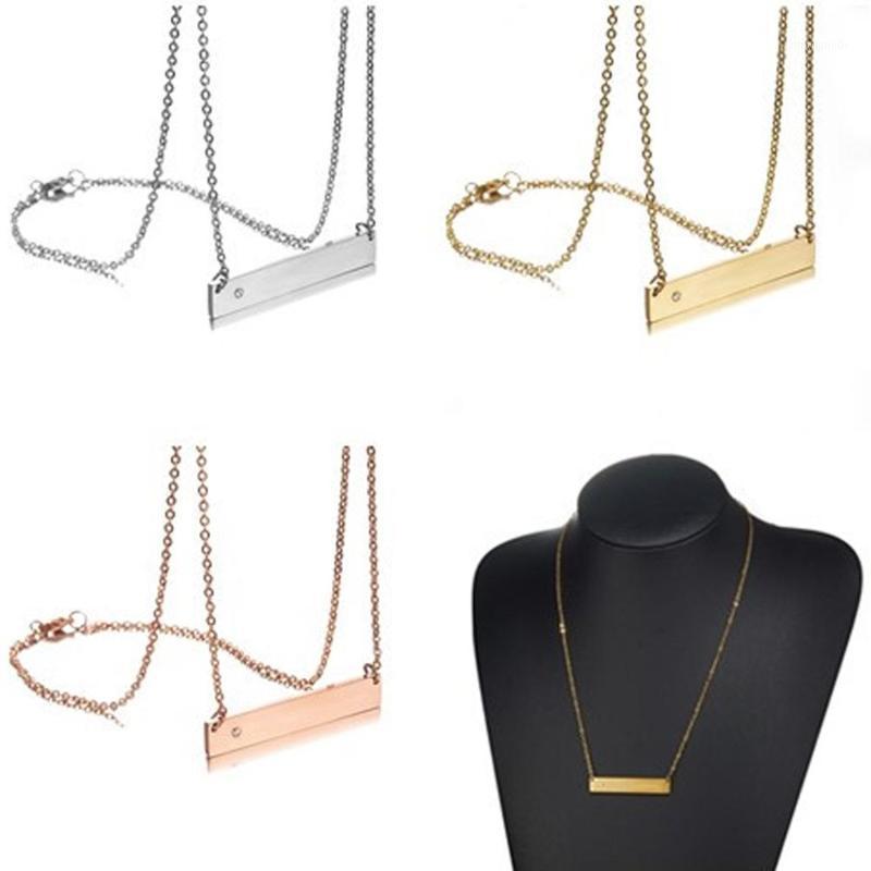 """Moda Gümüş Renk Altın Renk Gül Altın Paslanmaz Çelik Boş Bar Kolye Kolye 18 """"Charm Kadınlar Kız1 için"""