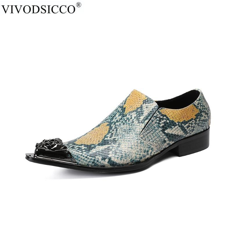 VIVODSICCO Fashion Business Homens Python vestido de pele sapatos de couro genuíno Pointed casamento Toe formais sapatos de metal Toes Escritório