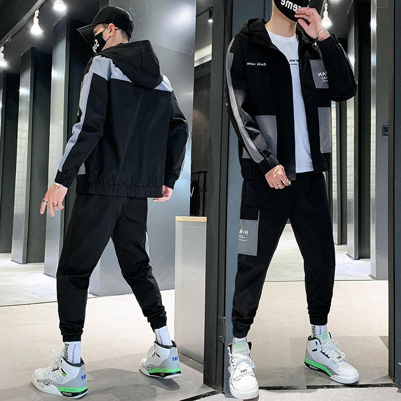 Trainingsanzug Männer 2021 Herbst Sportswear Herren Sets Lässige Männliche Titelanzug Zwei Teile Set Jacke + Jogger Hosen Dropshipping