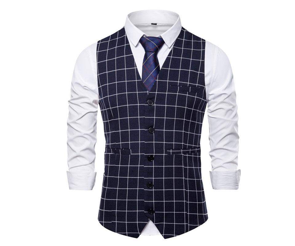 Costume Homme Casual Gilet Robe Gilet Gilets simple boutonnage Plaid Business Party Slim Fit Hommes Costume Chalecos Ho Gilet