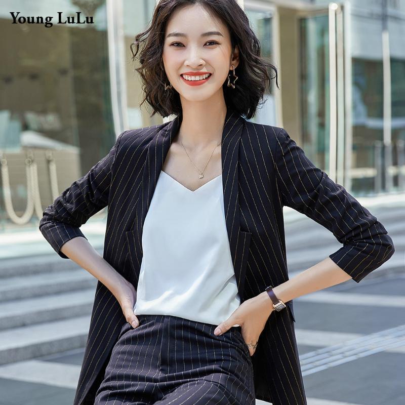 Полосатая мода пиджака куртка женщин формальный с длинным рукавом рабочие блейшистые пальто Офис леди тонкие пиджаки 2021 сингл поручено плюс размер