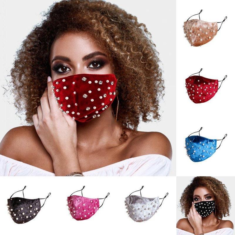 2020 New Fashion Designer strass perle della maschera di inverno caldo velluto Bocca parapolvere Haze Anti-Pollution Mascherine