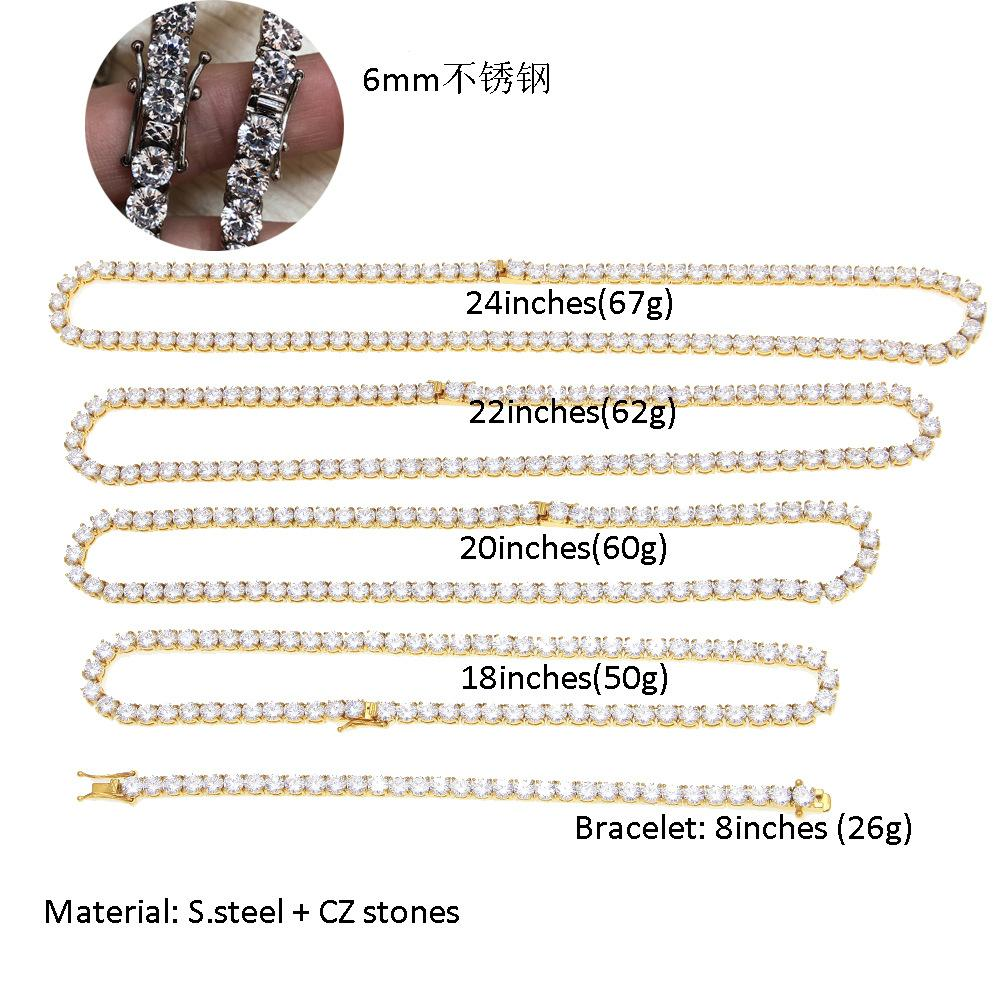 Hip Hop Mens 6mm Claw Inlaid Zircon Stainless Steel Maintains Color Row Necklace One Batch