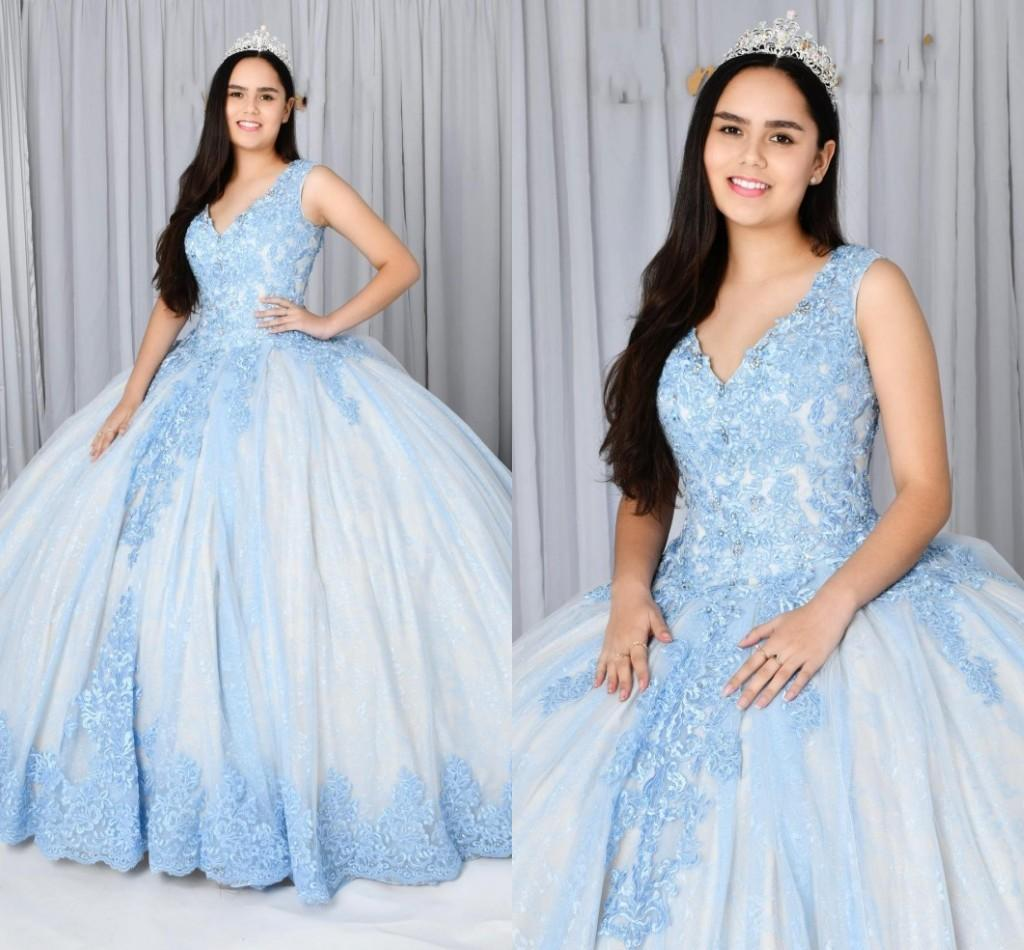 Classic V-neck Quinceanera Dresses Light Blue Lace Crystal Corset Back Ball Gown Sweet 16 Girls Prom Formal Evening Gowns Vestidos De novia